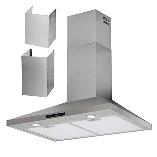 """HTH 30"""" Inch Wall Mount Chimney Range Hood With Extra Duct Extension Covers – Up to 11 feet Ceiling, Stainless Steel, Touch Control, 24-hour Clock Display, Auto Shut Off Timer"""