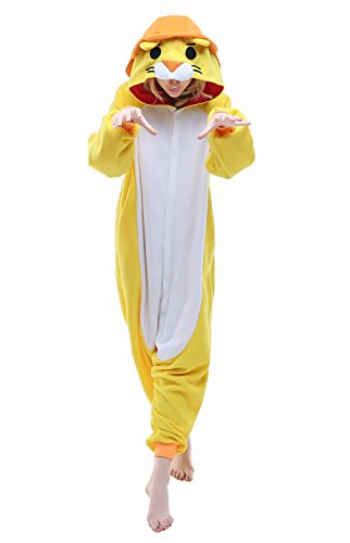 Women's Cozy Lion Costumes (Canasour Unisex Adult Pajamas- Plush One Piece Costume (S, Yellow Lion))