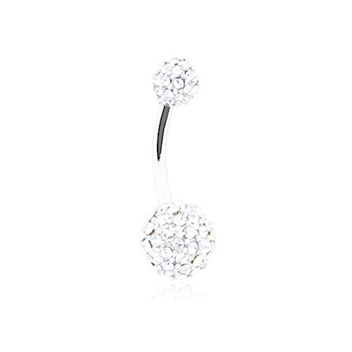 14 GA Pave Diamond Full Dome Cluster Non Dangle Belly Button Ring 316L Surgical Stainless Steel Body Piercing Jewelry For Women Men Davana Enterprises (14GA Clear) (Gemstone Gold Ring Clustered)