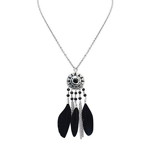 Gorgeous Jewelry Sun Pattern Circle Pendant Necklace Black Women Alloy Tassels Feathers Sweater Chain