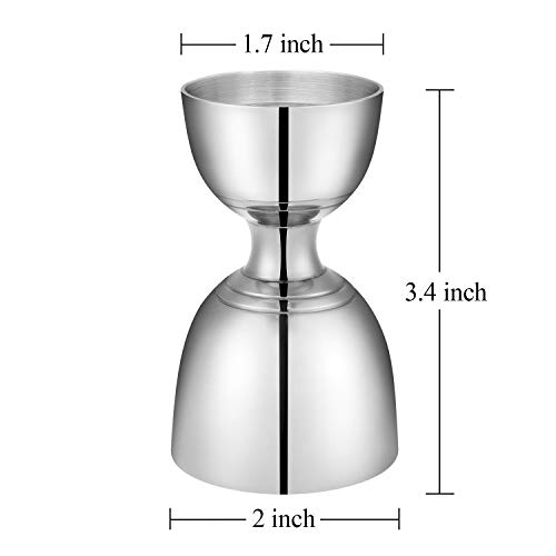 Hiware Double Cocktail Bar Jigger, 18/8 Stainless Steel Bell Measuring Jigger - 1 oz x 2 oz by Hiware (Image #1)