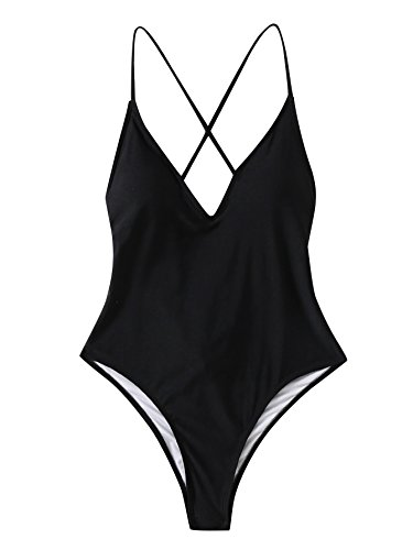 SOLY HUX Women's Sexy Plunge Neck Cross Back Ruched Detail One Piece Monokini Swimsuit Black ()