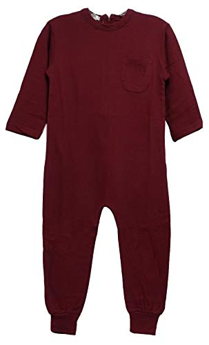 - One-Piece Anti-Strip Jumpsuit for Kids with Special Needs (L, Burgundy 2-Snap)