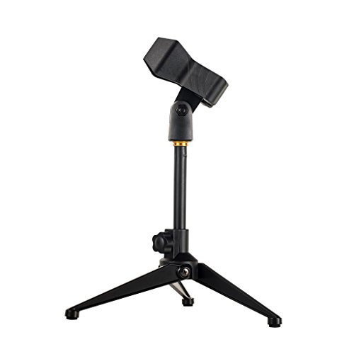 Universal Desktop Microphone Stand Adjustable MIC Tabletop Stand with Spring-loaded Microphone Clip such as Sm57 Sm58 Sm86 Sm87 (Universal Microphone Stand Adapter)