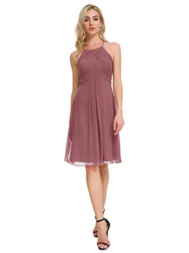 Alicepub Chiffon Bridesmaid Dresses Halter Cocktail Dress Short Homecoming Party Dresses, Dusty Rose, US12