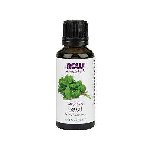 NOW Essential Oils, Basil Oil, Energizing Aromatherapy Scent, Stream Distilled, 100% Pure, Vegan, 1-Ounce