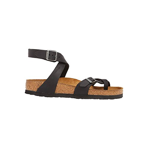 Birkenstock Women's Yara Black Oiled Leather Sandals 39 (US Women's 8-8.5) by Birkenstock