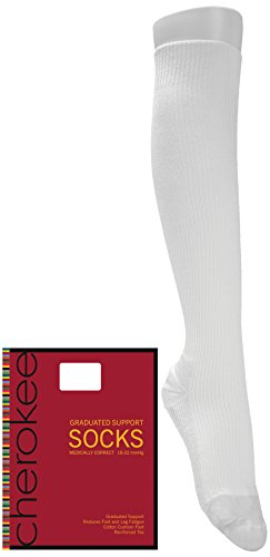 Cherokee MEDISOCK Women's 18mm Compression Sock One Pair White C - Cherokee A/c