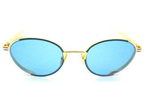 Thom Browne TB-106-Navy- Gold with Blue lenses Sunglasses by Thom Browne