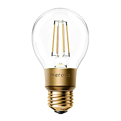 meross Smart Wi-Fi LED Bulb, Vintage Edison Style, Dimmable, 60W Equivalent, Compatible with Amazon Alexa, Google Assistant and IFTTT, E26 A19 Light Bulb, No Hub Required