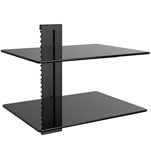 WALI Floating Strengthened Tempered Glass for DVD Players, Cable Boxes Games Consoles, TV Accessories (CS202), 2 Shelf, Black (2 Shelf Wall System)
