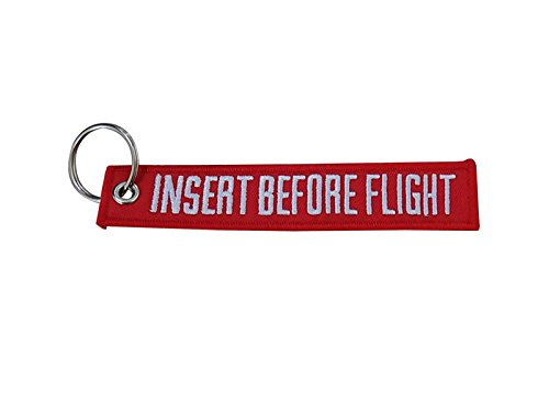 Keychain Embroidered Key Chain for Motorcycles Scooters Cars and Gifts Sportbike Bags Backbags INSERT BEFORE FLIGHT ()