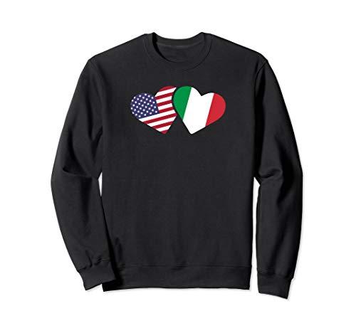 - Italy USA Flag Sweatshirt Heart Italian American Love