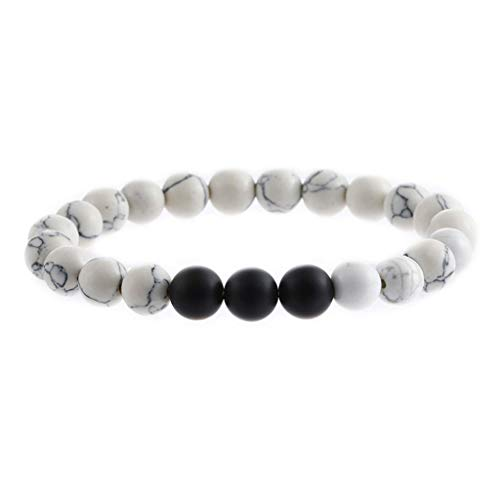 Natural Stone Agate Bracelet Men Women 8mm Lava Rock Chakra Beads Elastic Bracelet ()