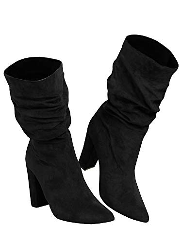 (Womens Slouchy Block High Heel Boots Winter Slip on Chunky Pointed Toe Mid Calf Suede Boots Black)