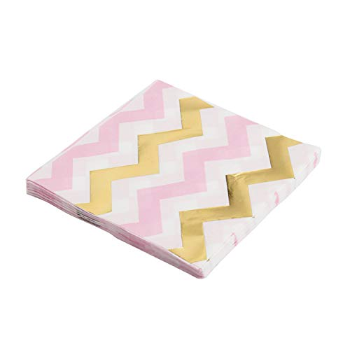 (10Pcs Gold Foil Star Disposable Tableware Party Paper Plates Cups Shower Favor Drinking Straws Wedding Supplies Pink Striped)