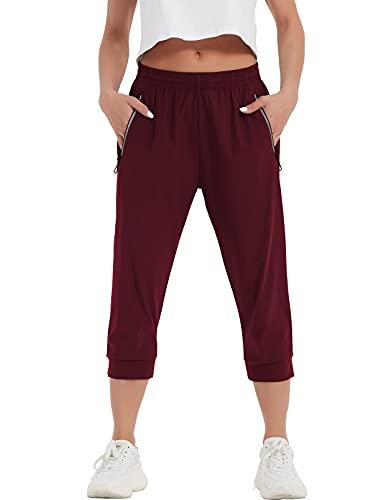 SPECIALMAGIC Women's Running Capri Jogging Pants Athletic Workout Hiking Capri Sweatpants Activewear Lounge with Pockets