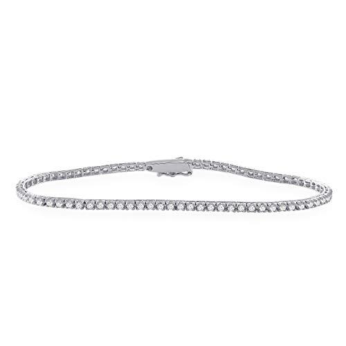 Genuine 1.00 Cttw Round Brilliant Cut Diamond Tennis Bracelet Solid 14K Gold