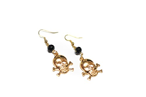 Gold Toned Skull Hook Earrings with Black Faceted Crystal Beads ()