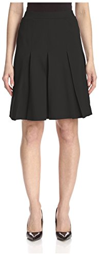 SOCIETY NEW YORK Women's Box Pleat Ponte Skirt, Black, 6 US (S)