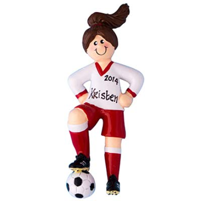 Soccer Girl - Brown Hair Personalized Ornament - (Unique Christmas Tree Ornament - Classic Decor for A Holiday Party - Custom Decorations for Family Kids Baby Military Sports Or Pets)