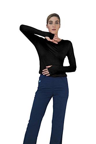 Adar Indulgence Long Sleeve Fitted Luxury Scrub Tee - 4500 - Black - XL