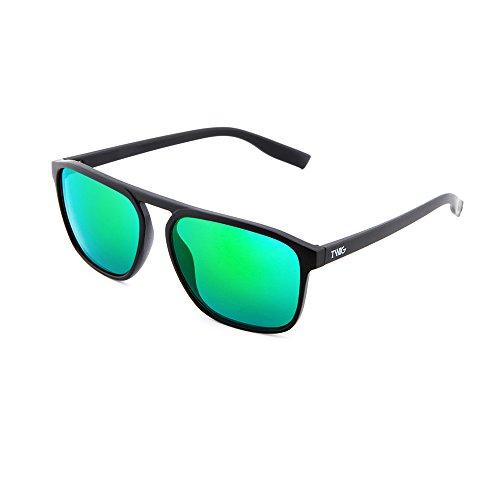 TWIG DOYLE sol Negro espejo hombre Verde de mujer Gafas degradadas qtvxEE