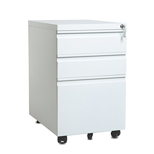 Modern Luxe 3-drawer Mobile File Cabinet With Keys, Fully Assembled Except Casters (white With Curve