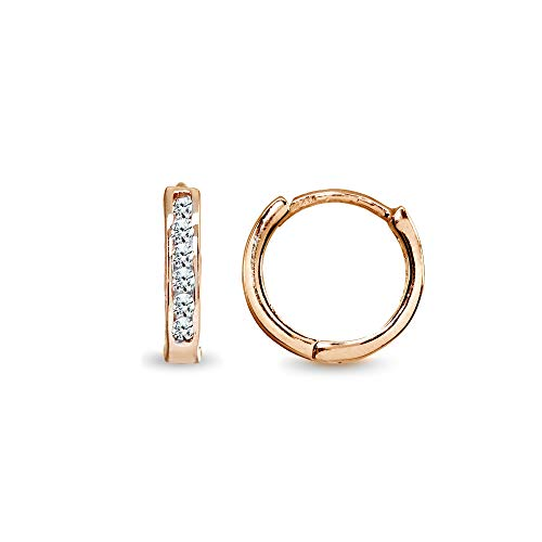 - Rose Gold Flash Sterling Silver Tiny Small 13mm Channel-set Cubic Zirconia Round Huggie Hoop Earrings