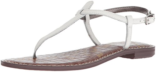 White Leather Strap Sandal - Sam Edelman Women's Gigi Flat Sandal, Bright White Leather, 7.5 M US