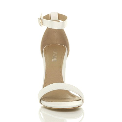 Cinturino Alla Ladies Size Pumps Sandali Opaco Tacco Bianco Peep Block Caviglia Ajvani Womens Party Toe Scarpe Alto Con XqpqAx