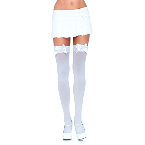 [Mememall Fashion Leg Avenue Opaque Thigh Highs With Satin Bow Accent Womens Girls Sexy Stockings] (Deluxe Plush Cow Mascot Costumes)