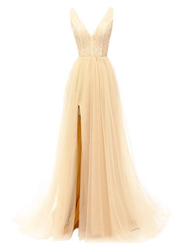 (Prom Dresses Deep V Neck Tulle Lace Sex Split Dresses Long Prom Gown Evening Dress HFY290-Champagne-US6)