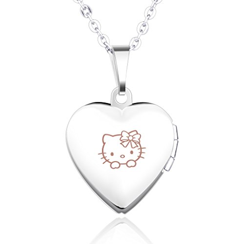 [Infinite U Engraving Cute Kitty Pink Stainless Steel Open Heart Photo Locket Women Pendant Necklace for Birthday Gift (Enable to Engrave Your Own] (Child Pretty Kitty Costumes)