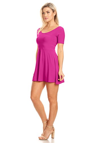 Skater 3 Magenta Dress Sleeve Flare Casual and and Reg 4 Line and A Fit Short Plus Womens Size qFSRxnBPA