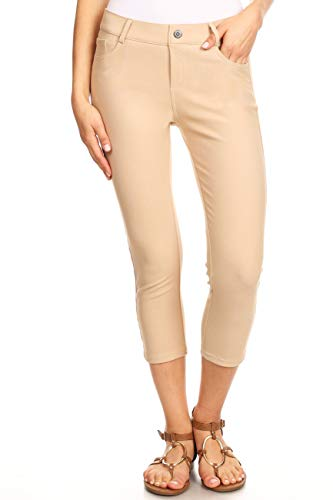 (ICONOFLASH Women's Plus Size Camel 5 Pocket Capri Jeggings XL - Pull On Skinny Stretch Colored Jean Leggings Size X-Large)