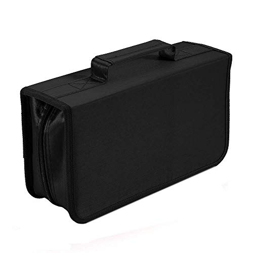 CD DVD Case 128 Capacity Portable DVD Holder Multimedia Discs Storage Compact and Easy to Store for Home and Travel Black