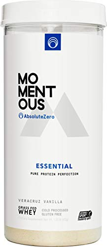 AbsoluteZero Grass-Fed Whey Protein Isolate, 24 Servings Per Jar for Essential Everyday Use, Gluten-Free, NSF Certified - Live Momentous (Vanilla)
