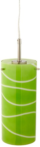 Lite Source LS-19991GRN Pacifica Pendant Lamp with Green Glass Shade, 4.75