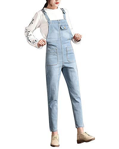 Blu2 Donna Bavaglino In Jumpsuit Alta Dritto Jeans Vita Tuta Pantaloni Salopette Sciolto Kasen 7Rwqd7