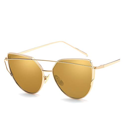 Metal Sunglasses Women Luxury Cat Eye Mirror Rose New Gold Vintage Fashion sun glasses lady ()