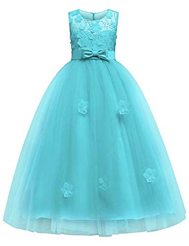 Girl Dress for Kids Baby Pageant Communion Sleeveless Maxi Formal Party Prom Sleeveless Ball Gown(Tiffany Blue-1,140)
