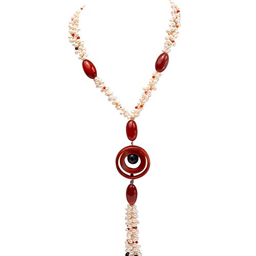 - JYXJEWELRY Women Pearl Necklace 5.5x7mm White Oval Pearl and Red Black Agate Beads Long Tassel Sweater Necklace 22