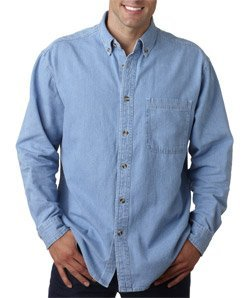8960 UltraClub Men's Cypress Denim with Pocket (Light Blue) (L)