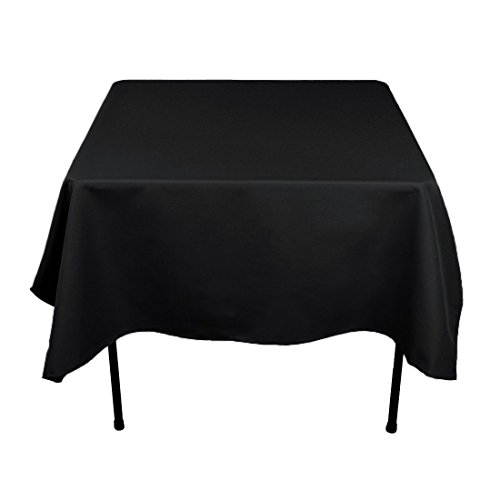 Gee Di Moda Square Tablecloth - 70 x 70 Inch - Black Square Table Cloth for Square or Round Tables in Washable Polyester - Great for Buffet Table, Parties, Holiday Dinner, Wedding & More (Black Linen Tablecloth)