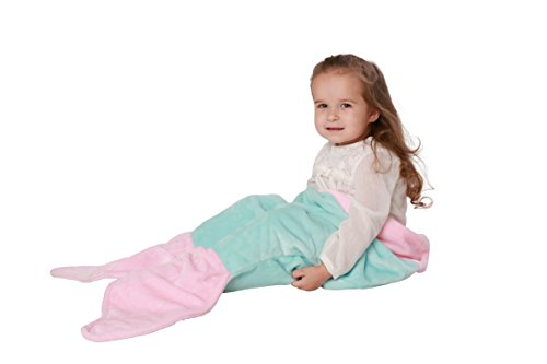 Mermaid Tail Blanket for Toddler Girls Age 1-4 - Super Soft and Warm Minky Fabric Material Sleeping Blanket - Perfect Gift and Toy for Toddler Kids by Cuddly Blankets (Aqua Blue & Light Pink) (Princess Disney Pets Place)