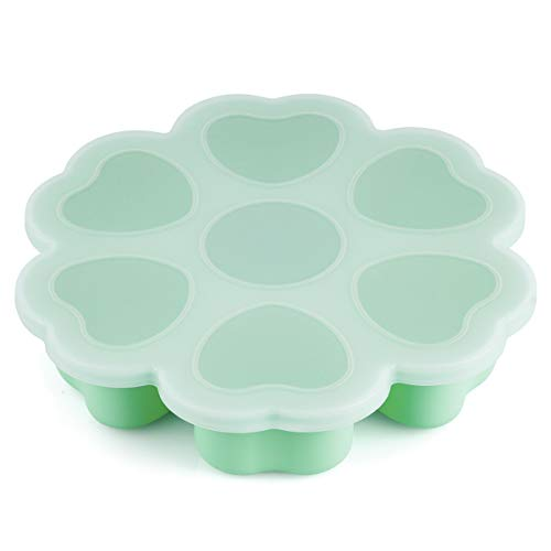 Baby Food Freezer Trays – Kirecoo 7 Large Cups 2.1 Oz BPA Free Baby Freezer Storage Containers for Homemade Baby Food, Fruit & Vegetable Purees or Breast Milk (Mint)