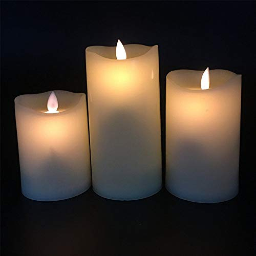 VoKalm Flickering Flames Candles - Realistic LED Dancing Flame Light - Indoor and Outdoor Batter Operated with Remote Control Timer - Moving Wick - 3 Pillar Unscented Ivory Flicker Candle Set