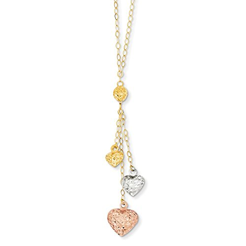 14k Tri Color Yellow White Gold Puff Heart Lariat 2 Inch Extension Chain Necklace Pendant Charm S/love Fine Jewelry Gifts For Women For Her