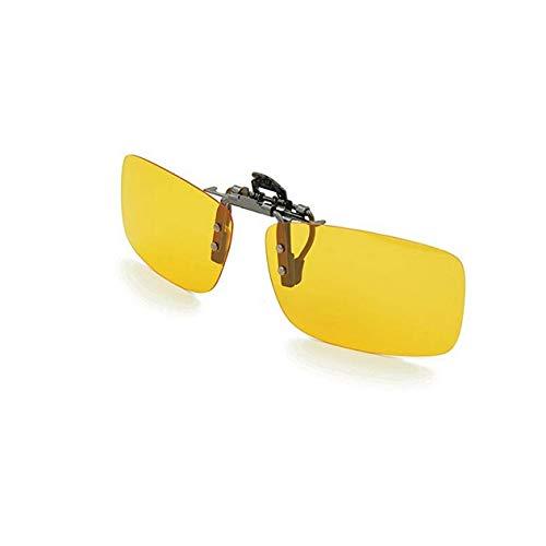 TTM Clip-on Night Driving Glasses for Driver - Unisex Adjustable Frameless Rectangle Lens Safe Anti Glare Flip Up Clip on Sunglasses Eyeglass for Men Women